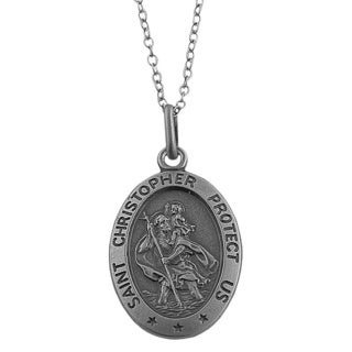 Fremada Oxidized Sterling Silver Saint Christopher Medal Necklace