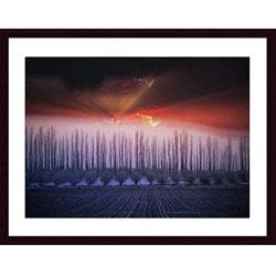 John K. Nakata 'Winter Sunset' Wood Framed Print Art