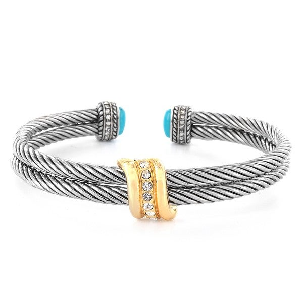 Silverplated Simulated Turquoise and Crystal Cuff Bracelet