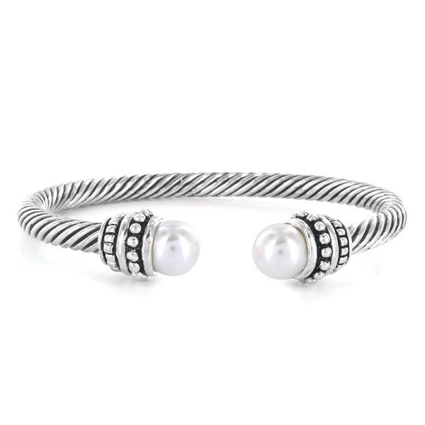 West Coast Jewelry Silverplated Created Pearl Cuff Bracelet
