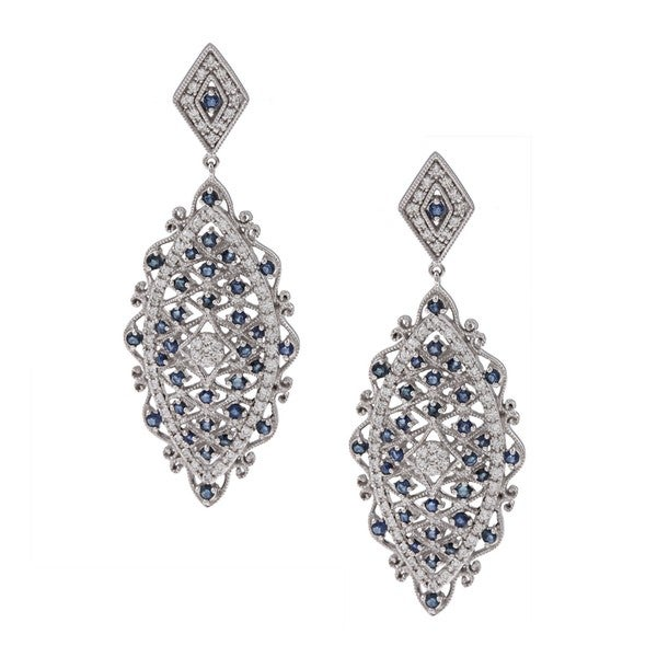 14k White Gold Sapphire and 1ct TDW Diamond Earrings (H-I, I2)
