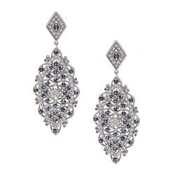 14k White Gold Sapphire and 1ct TDW Diamond Earrings (H-I, I2)