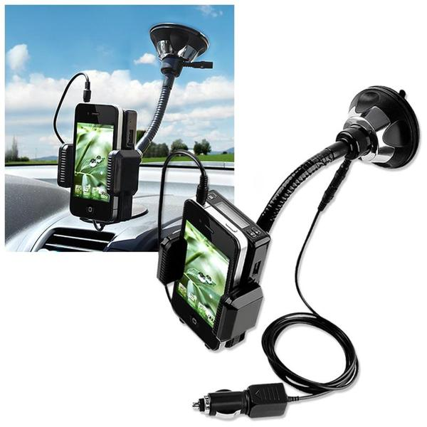 INSTEN Windshield FM Transmitter w/ 3.5mm Audio Cable for Apple iPhone 4S/ 5S/ 6