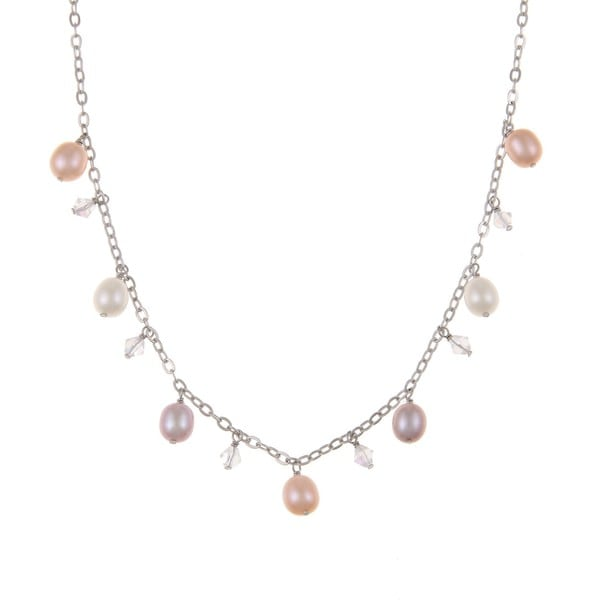 DaVonna Silver Multi Pink FW Pearl and Crystal Beads 18-inch Necklace (6.5-7 mm)