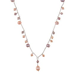 DaVonna Silver Multi Pink FW Pearl 16-inch Necklace (7-7.5 mm)