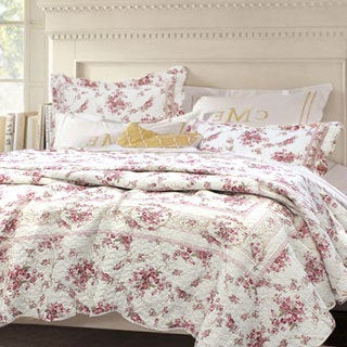 Shabby Chic Vintage Rose 3-piece Cotton Quilt Set (Option: Full)