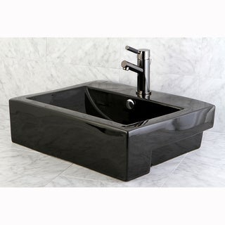 Concord Black Vitreous China Recess Table/ Wall Mount Bathroom Sink