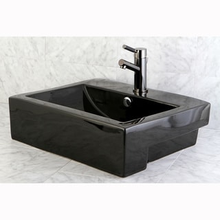 concord black vitreous china recess table wall mount bathroom sink