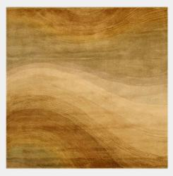Hand-tufted Wool Gold Contemporary Abstract Morono Rug (6' Square)