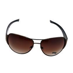 Women's Brown Metal Aviator Sunglasses - Thumbnail 1