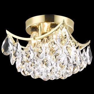 Somette Flush-Mount Gold/Crystal Four-Light Chandelier