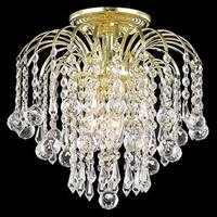 Somette Clear Crystal Three-Light Gold Chandelier