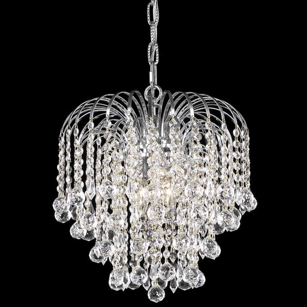 Somette Crystal 3 Light Chrome Chain Wire Chandelier