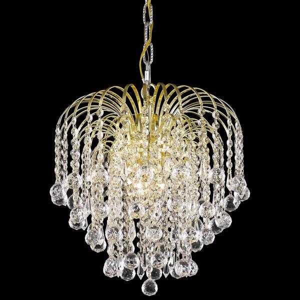 Somette Hanging Gold/Crystal Four-Light Chandelier