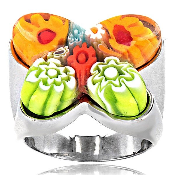 West Coast Jewelry Stainless Steel Multicolored Glass Cocktail Ring