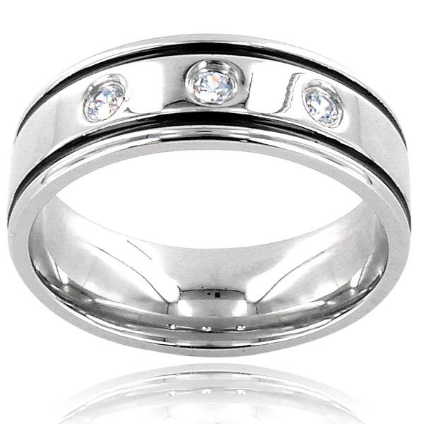 West Coast Jewelry Stainless Steel Men's Cubic Zirconia Band
