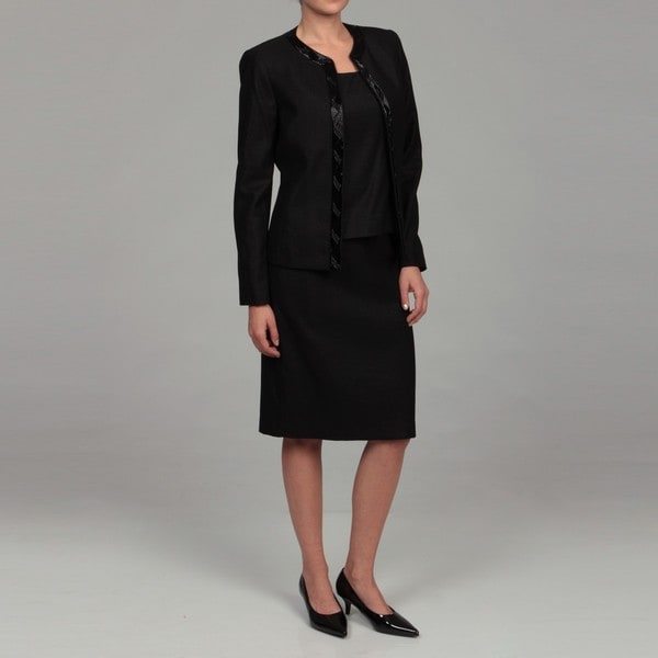 Kasper Women's Black Three-piece Beaded Skirt Suit