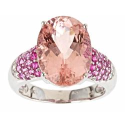 Anika and August 14k White Gold Morganite, Pink and White Sapphire Ring