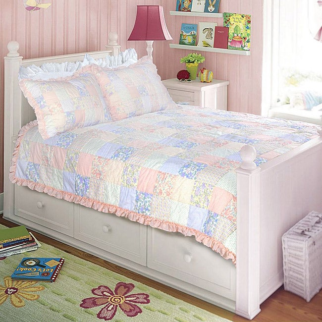 Purple Rose Twin-size 2-piece Quilt Set (Twin) (Cotton, P...