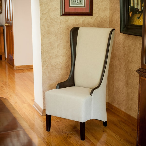 Bacall High Back Beige Fabric Chair Free Shipping Today 13814698