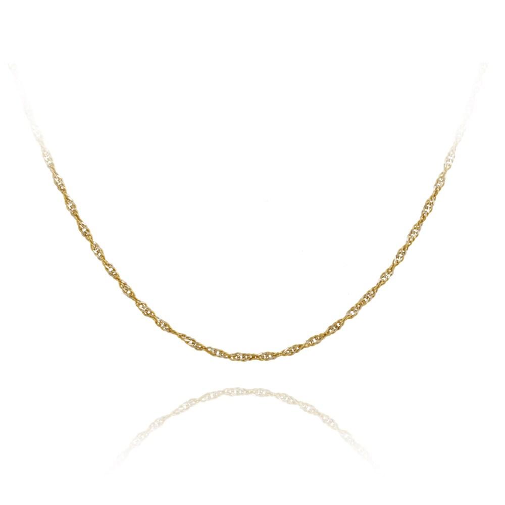 Mondevio Two-tone Silver 18-inch Italian Singapore Chain Necklace