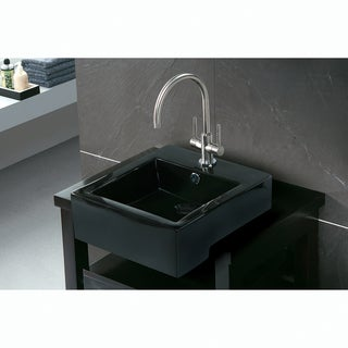 Black Vitreous China Countertop Bathroom Sink
