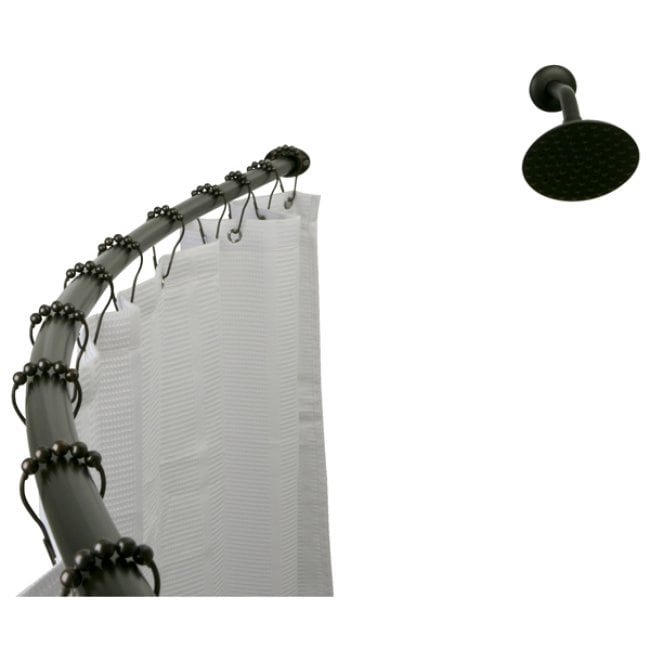 Kingston Brass Curved Oil-rubbed Bronze Shower Rod, Black...