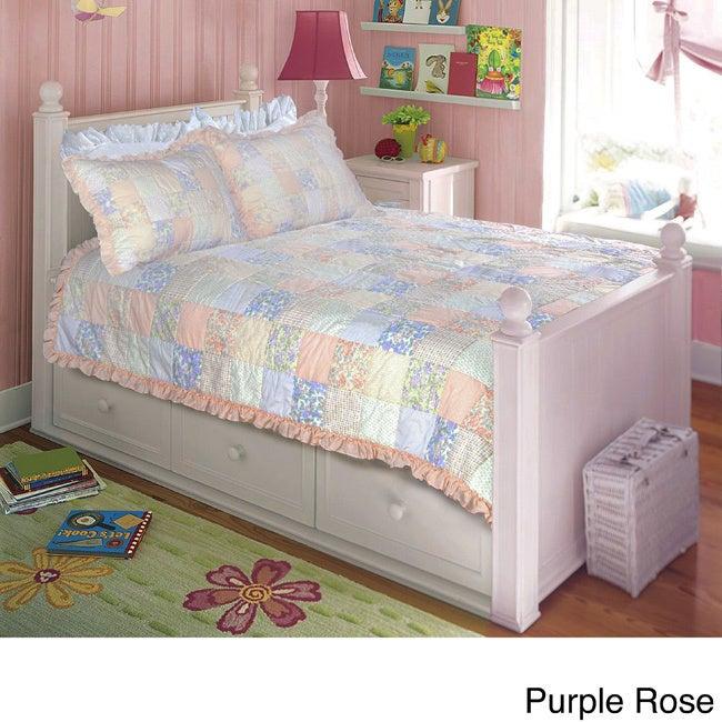Rose Quilt Set (Full/ Queen - Purple) (Cotton, Floral)
