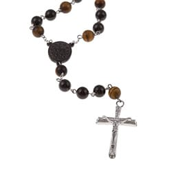 Stainless Steel Tiger's Eye Bead Rosary Necklace