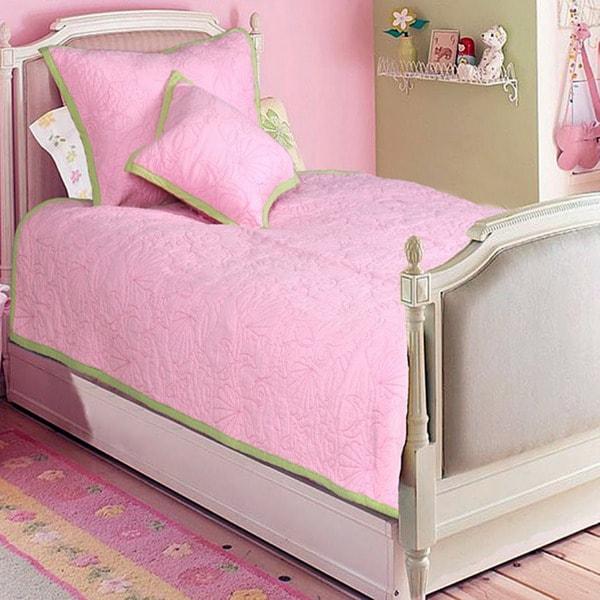 Pink Ocean Creatures Girl's Twin-size 2-piece Quilt Set