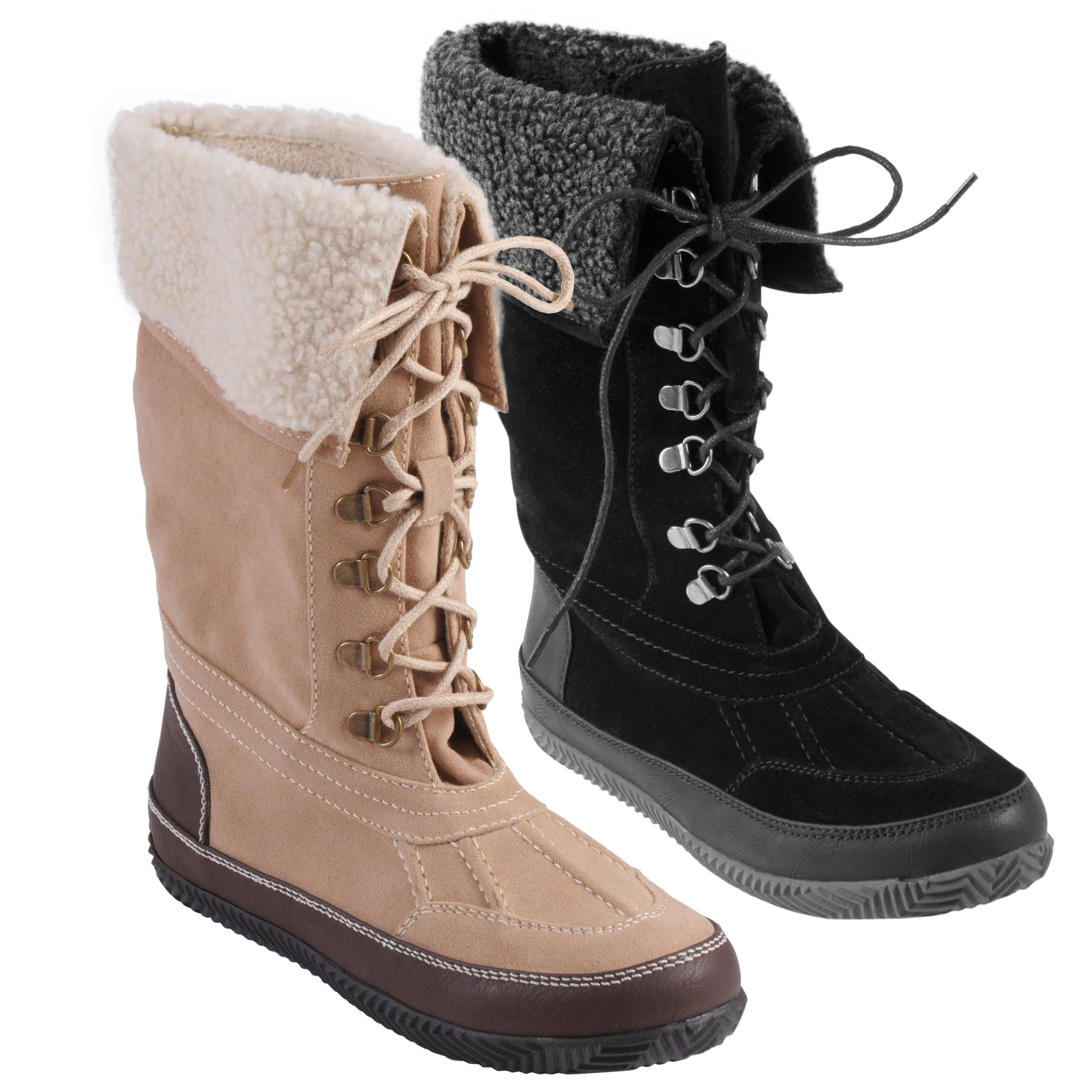 Journee Collection Women's 'Price-12'  Plush Trim Lace-up Boot