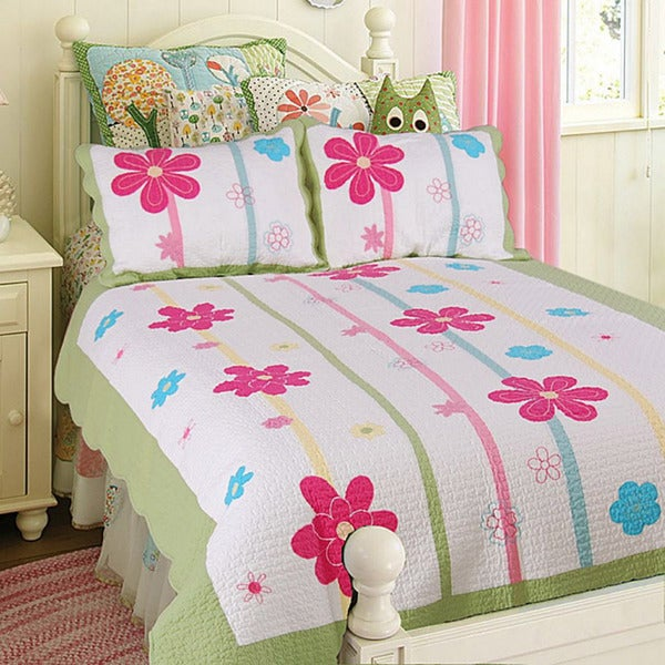 Shop Spring Fling Flower Full Queen Size 3 Piece Quilt