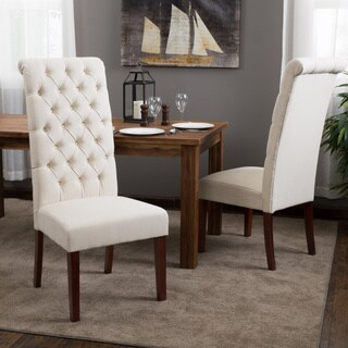 Tall Natural Tufted Fabric Dining Chair (Set of 2) by Christopher Knight Home