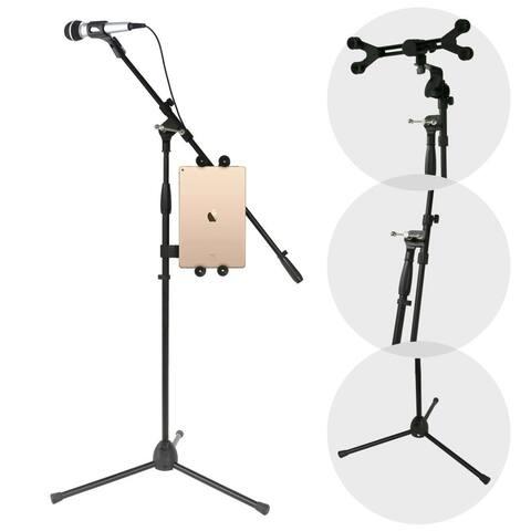 Pyle PMKSPAD1 Multimedia iPad and Microphone Stand Universal Mic Holder Adjustable Extender Bar Universal Tablet or iPad Griper