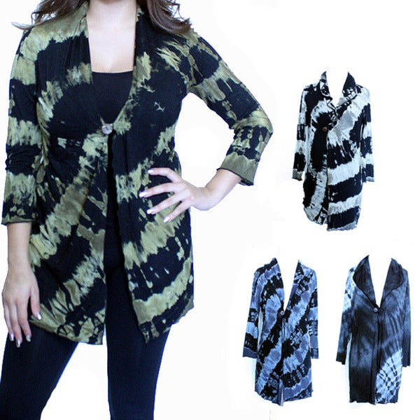 Women's Rayon Tie-dye Button Cardigan (Nepal)