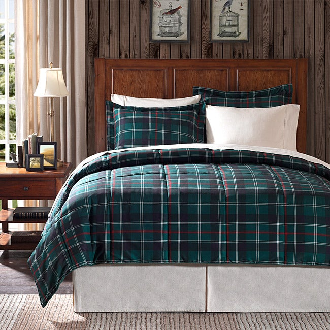 premier comfort franklin plaid full queen size 3 piece down alternative comforter set free. Black Bedroom Furniture Sets. Home Design Ideas