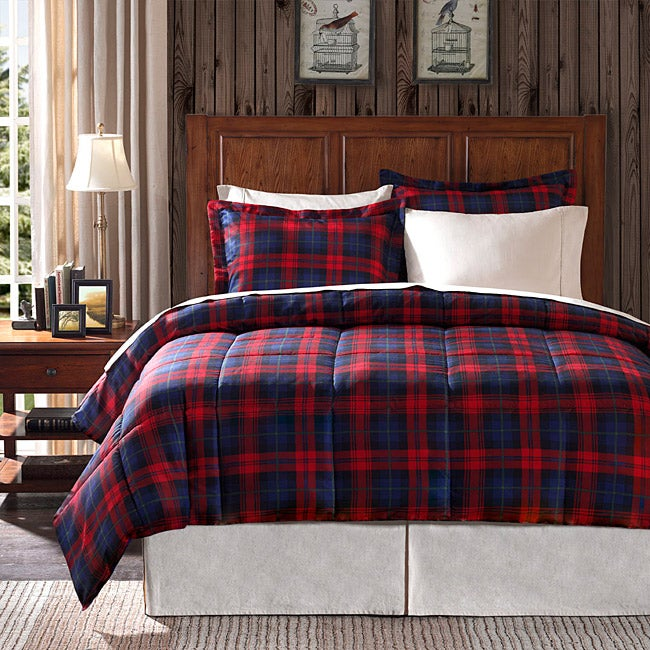 premier comfort ashland plaid full queen size 3 piece down alternative comforter set free. Black Bedroom Furniture Sets. Home Design Ideas