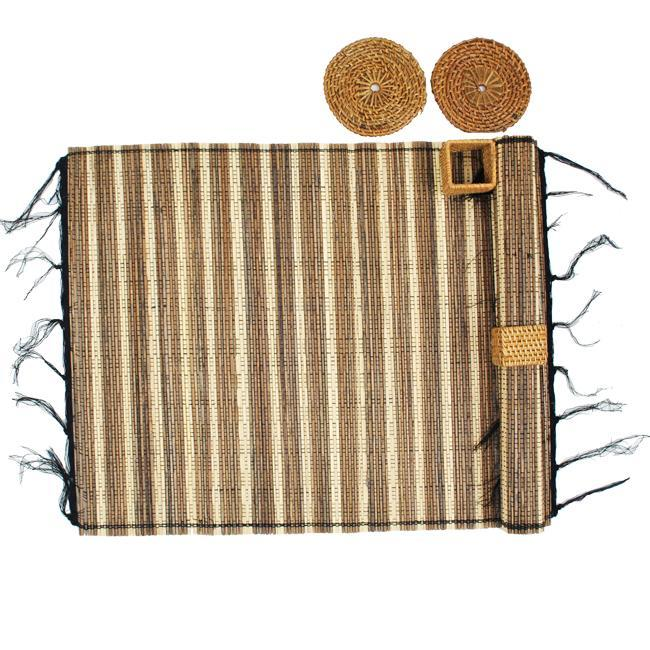Handmade Bamboo Table Mat and Coaster Set (Indonesia)