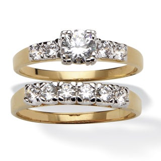 2.15 TCW Round Cubic Zirconia 14k Yellow Gold-Plated Two-Piece Bridal Engagement Set Class