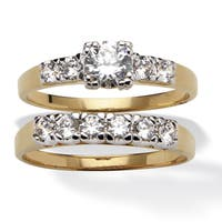 2.15 TCW Round Cubic Zirconia Yellow Gold-Plated Two-Piece Bridal Engagement Set Class