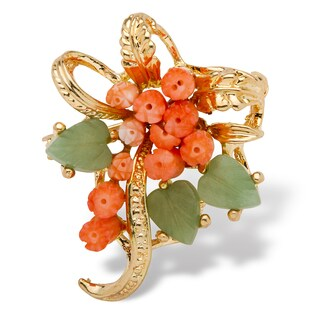 Genuine Coral and Agate Bouquet Pin in Yellow Gold Tone Naturalist