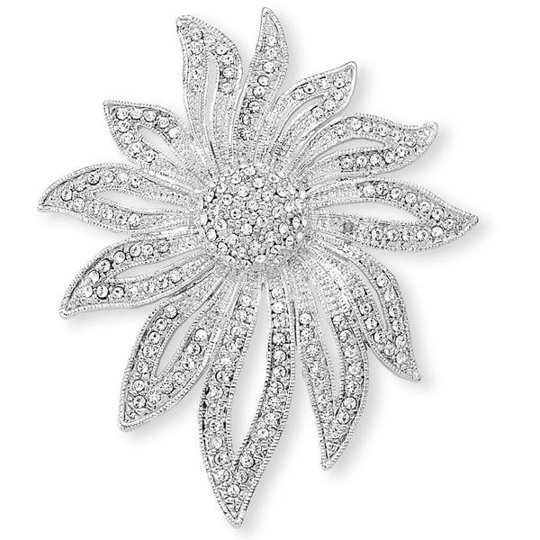 Round Crystal Pave Silvertone Flower Pin Bold Fashion