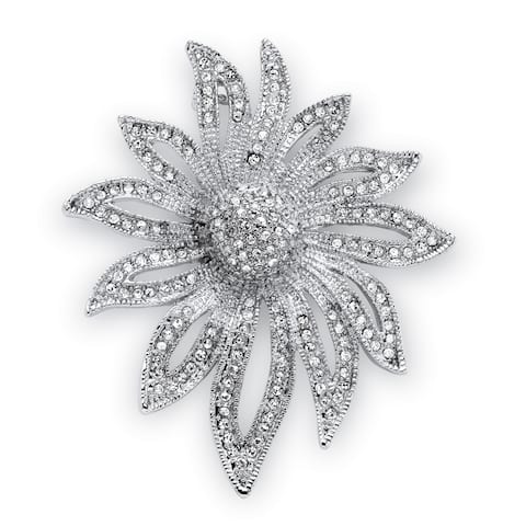Round Crystal Pave Silvertone Flower Pin Bold Fashion