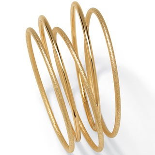 Yellow Goldtone 5-piece Bangle Bracelet Set