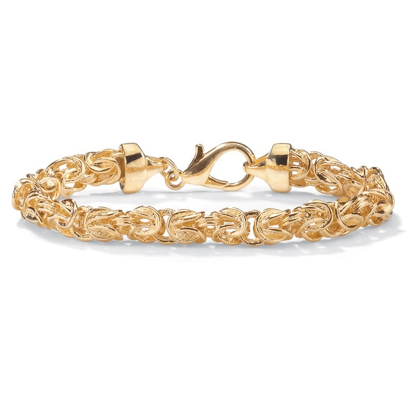 """Byzantine Link Bracelet in Yellow Gold Tone 9"""" Tailored"""