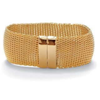 "Mesh Bangle Bracelet in Yellow Gold Tone 8"" Tailored"