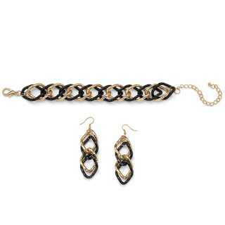 Double Curb-Link Bracelet and Drop Earrings Set in Gold Tone and Black Ruthenium Bold Fash