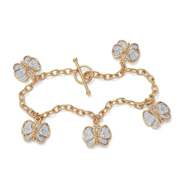 "18k Gold-Plated Filigree Butterfly Charm Bracelet 7 1/2"" Tailored"
