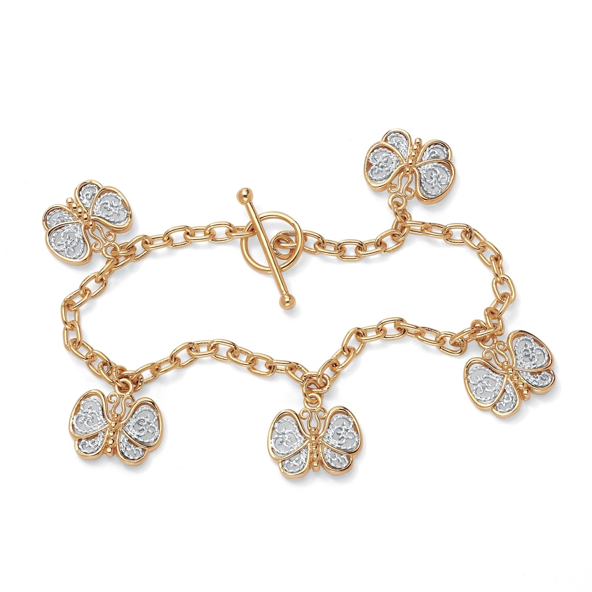 Palm Beach 18k Gold-Plated Filigree Butterfly Charm Brace...