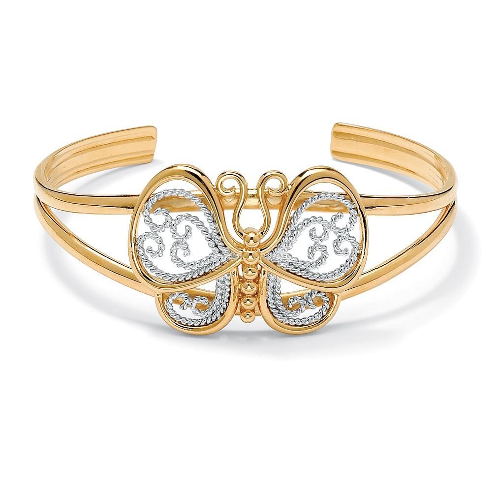 "PalmBeach 18k Gold-Plated Filigree Butterfly Cuff Bracelet 6 1/2"" Tailored"